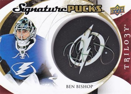 hokejová karta Ben Bishop UD Trilogy 2015-16 SIGNATURE PUCKS č.SP-BB