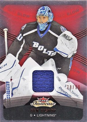 Hokejová karta Ben Bishop Fleer Showcase 2015/16 Red Glow Jersey Limit 78/99