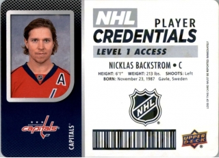 Hokejová karta Nicklas Backstrom UD MVP 2017-18 Credentials L1 Access č. NHL-NB