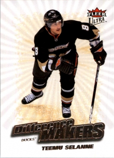 Hokejová karta Teemu Selanne Fleer Ultra 2008-09 Difference Makers č. DM3