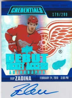 Hokejová karta Filip Zadina UD Credentials 2019-20 Debut Ticket Access /299