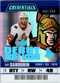 Hokejová karta Scott Sabourin UD Credentials 19-20 Debut Ticket Access /999