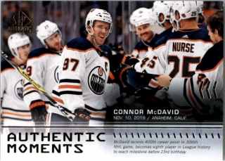 Hokejová karta Connor McDavid SP Authentic 2019-20 Authentic Moments č. 115