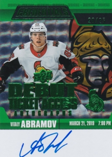 Hokejová karta Vitaly Abramov UD Credentials 2019-20 Debut Ticket Access /25