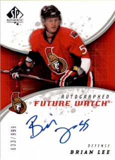 Hokejová karta Brian Lee UD SP Authentic 2008-09 Future Watch Autographed /999