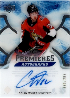 Hokejová karta Colin White UD Ice 2017-18 Premieres Autographs RC /299