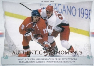 Hokejová karta Petr Svoboda / Sergei Fjodorov Authentic Moments Gold