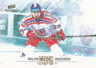 Hokejová karta Milan Doudera Czech Ice Hocky Team 2018 Gold Rainbow Parallel