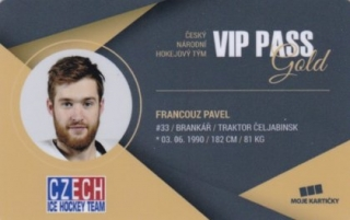 Hokejová karta Pavel Francouz Czech Ice Hockey Team 2018 VIP PASS Gold