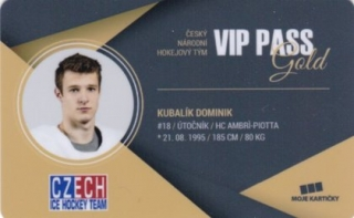 Hokejová karta Dominik Kubalík Czech Ice Hockey Team 2018 VIP PASS Gold
