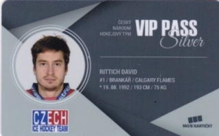 Hokejová karta David Rittich Czech Ice Hockey Team 2018 VIP PASS Silver