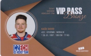 Hokejová karta David Kaše Czech Ice Hockey Team 2018 VIP PASS Bronze