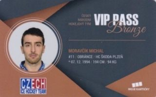 Hokejová karta Michal Moravčík Czech Ice Hockey Team 2018 VIP PASS bronze