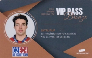 Hokejová karta Filip Chytil Czech Ice Hockey Team 2018 VIP PASS Bronze