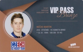 Hokejová karta Martin Nečas Czech Ice Hockey Team 2018 VIP PASS Bronze