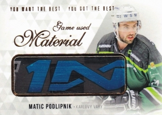 Hokejová karta Matic Podlipnik OFS 2018 YWB YGB Game Used Material UPDATE