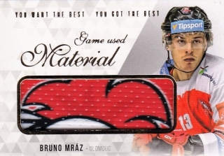 Hokejová karta Bruno Mráz OFS 2018 YWB YGB Game Used Material UP.18-19 S.2